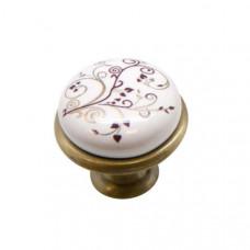 Ручка-кнопка с фарфором KF-01-04 BA бронза