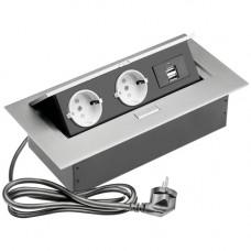 SETE Удлинитель настольный встраив.,2 гнезда, 2*USB, СЕРЫЙ, с кабелем SBT-2UC-80