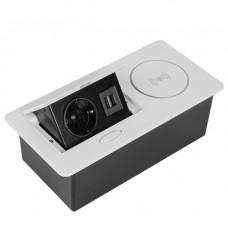 SETE Удлинитель настольный встраив.,1 гнездо,2*USB,белый, беспр.зар. SBT-1UCW-10