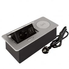 SETE Удлинитель настольный встраив.,1 гнездо,2*USB,серый, беспр.зар. SBT-1UCW-80