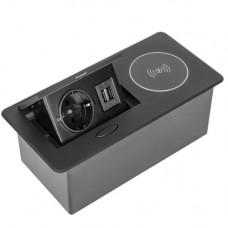 SETE Удлинитель настольный встраив.,1гнездо,2*USB,черный, беспр.зар. SBT-1UCW-20