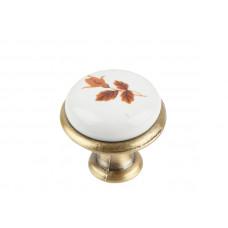Ручка-кнопка с фарфором KF-01-01 BA бронза