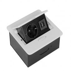 SETE Удлинитель настольный встраив.,1 гнездо, 2*USB, БЕЛЫЙ, с кабелем SBT-1UC-10
