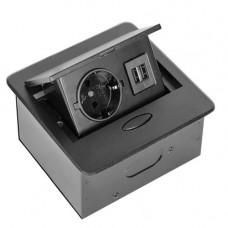 SETE Удлинитель настольный встраив.,1 гнездо, 2*USB, ЧЕРНЫЙ,с кабелем SBT-1UC-20