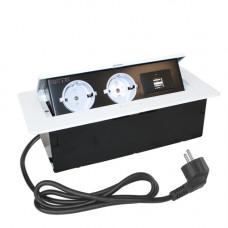 SETE Удлинитель настольный встраив.,2 гнезда, 2*USB, БЕЛЫЙ,с кабелем SBT-R2UC-10