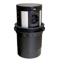 SETE Удлинитель наст. выдв., 2*USB,230V, круглый, с беспров.зар.ЧЕРНЫЙ, SPO-WC-B